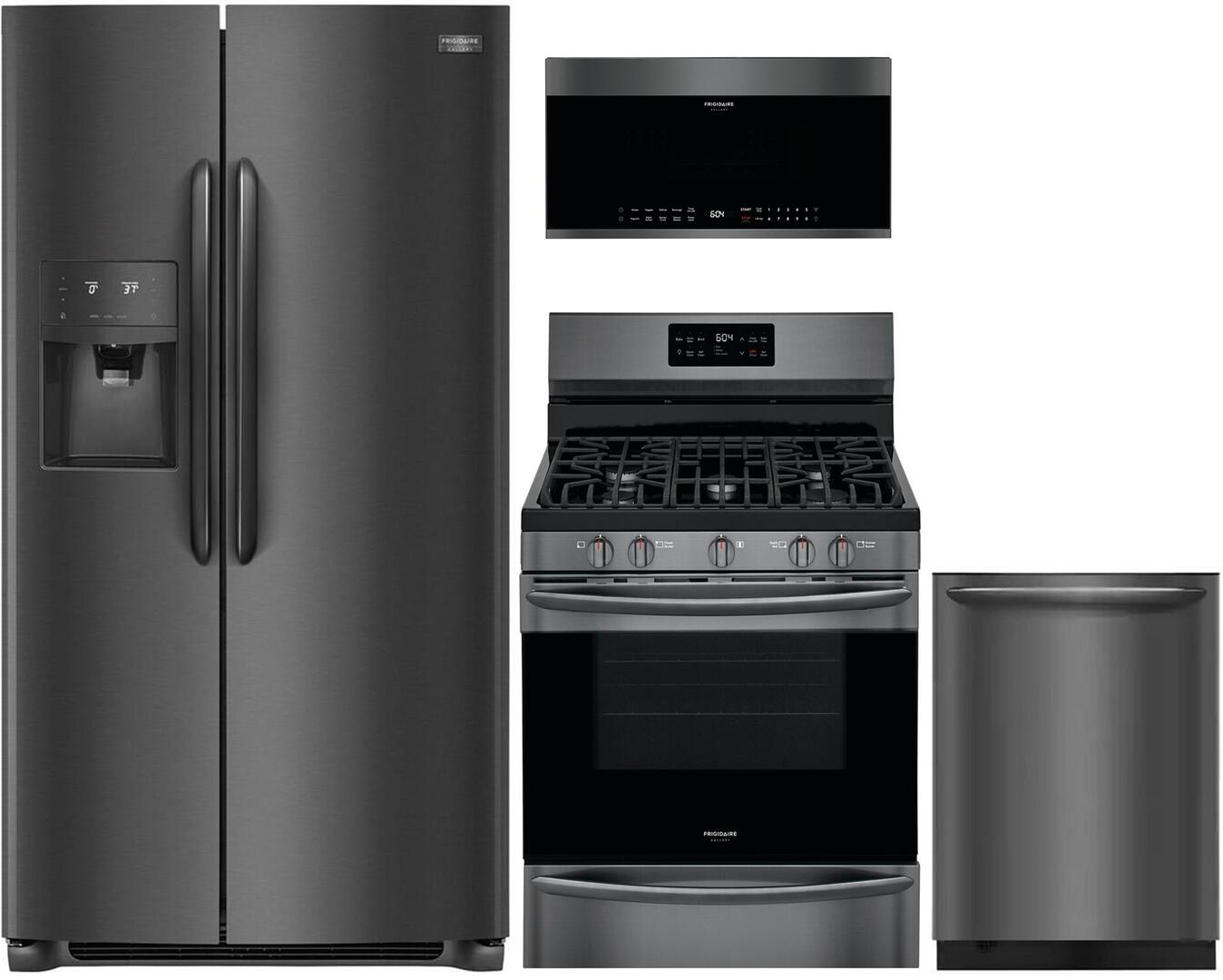 Frigidaire 1040026 4 piece Black Stainless Steel Kitchen Appliances Package