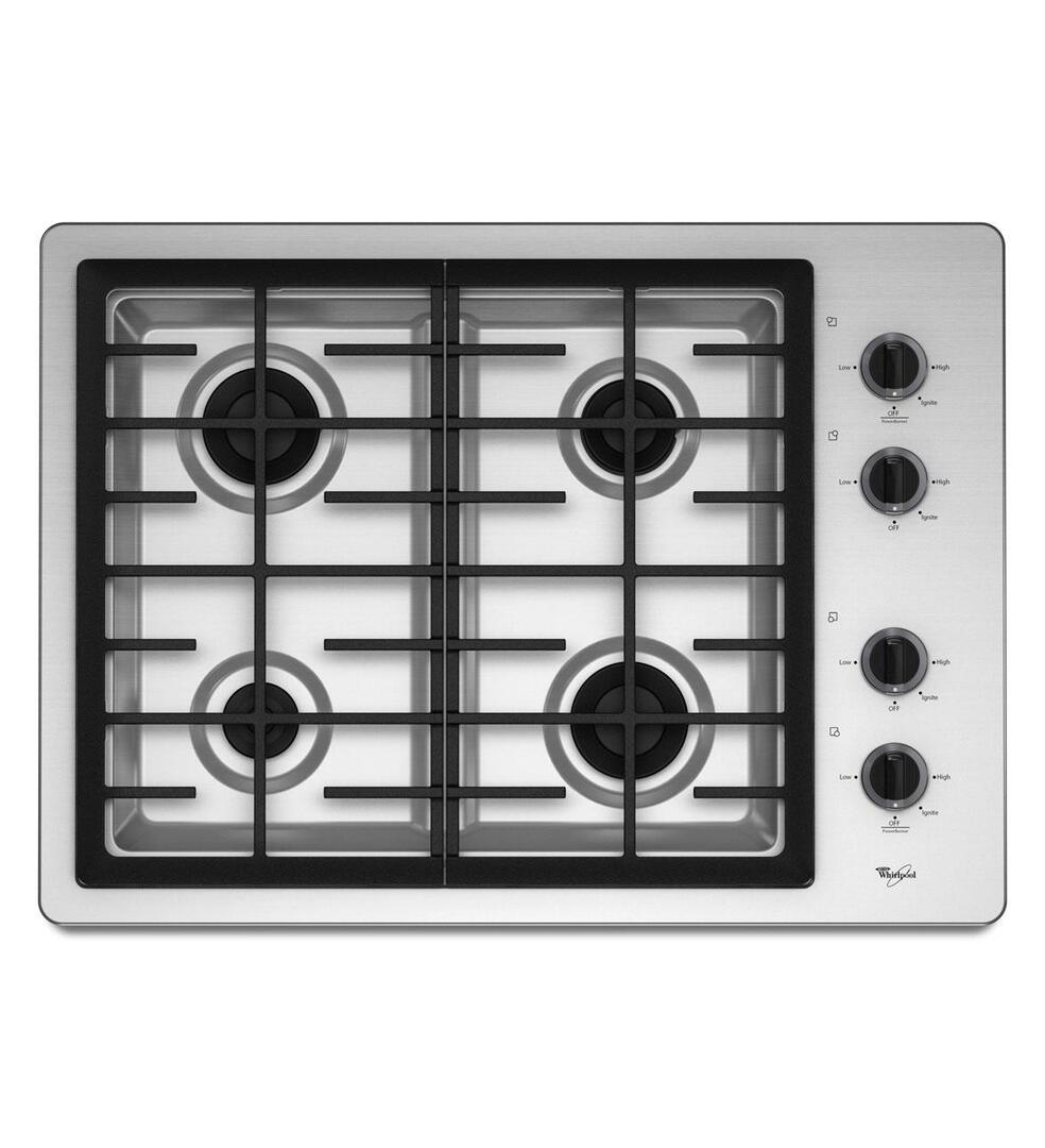 whirlpool w5cg3024xb gas sealed burner style cooktop in black appliances connection. Black Bedroom Furniture Sets. Home Design Ideas