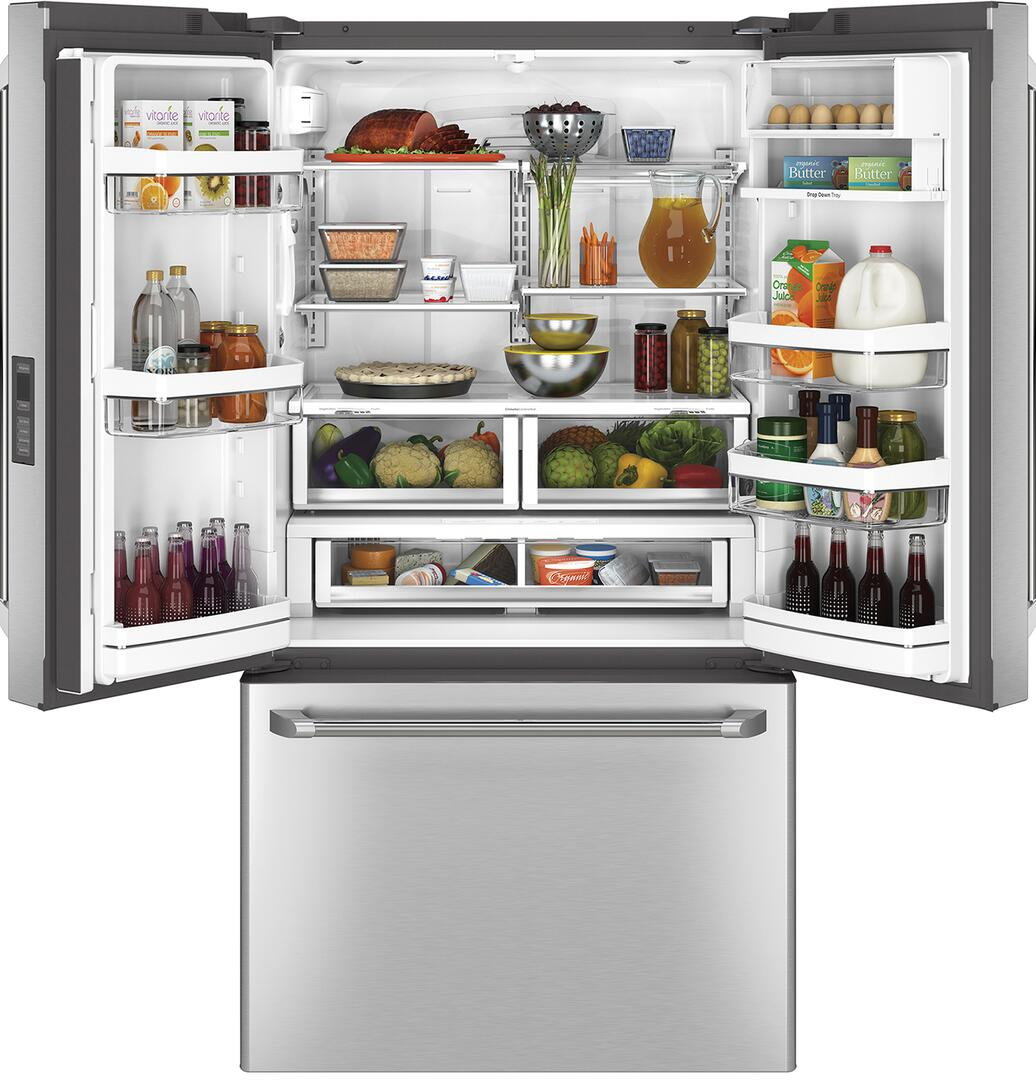 Ge cafe cwe23sshss 36 inch counter depth french door refrigerator ge cafe french doors open with content rubansaba