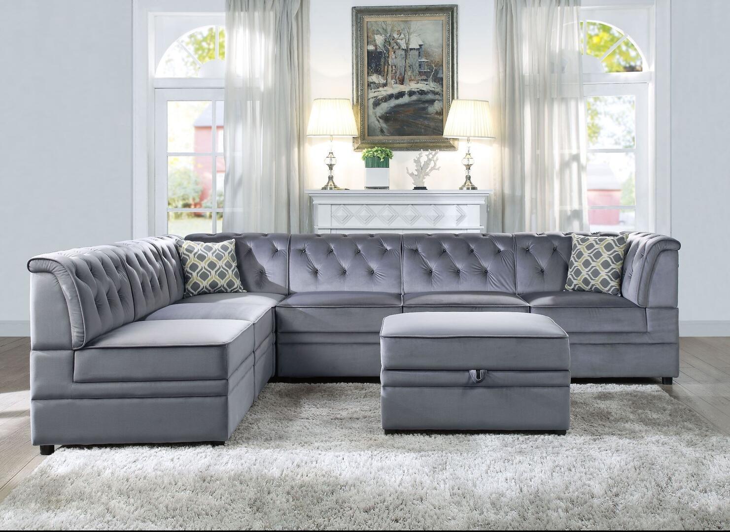 Acme Furniture Bois Ii Velvet Sectional Sofa 53305677 Grey