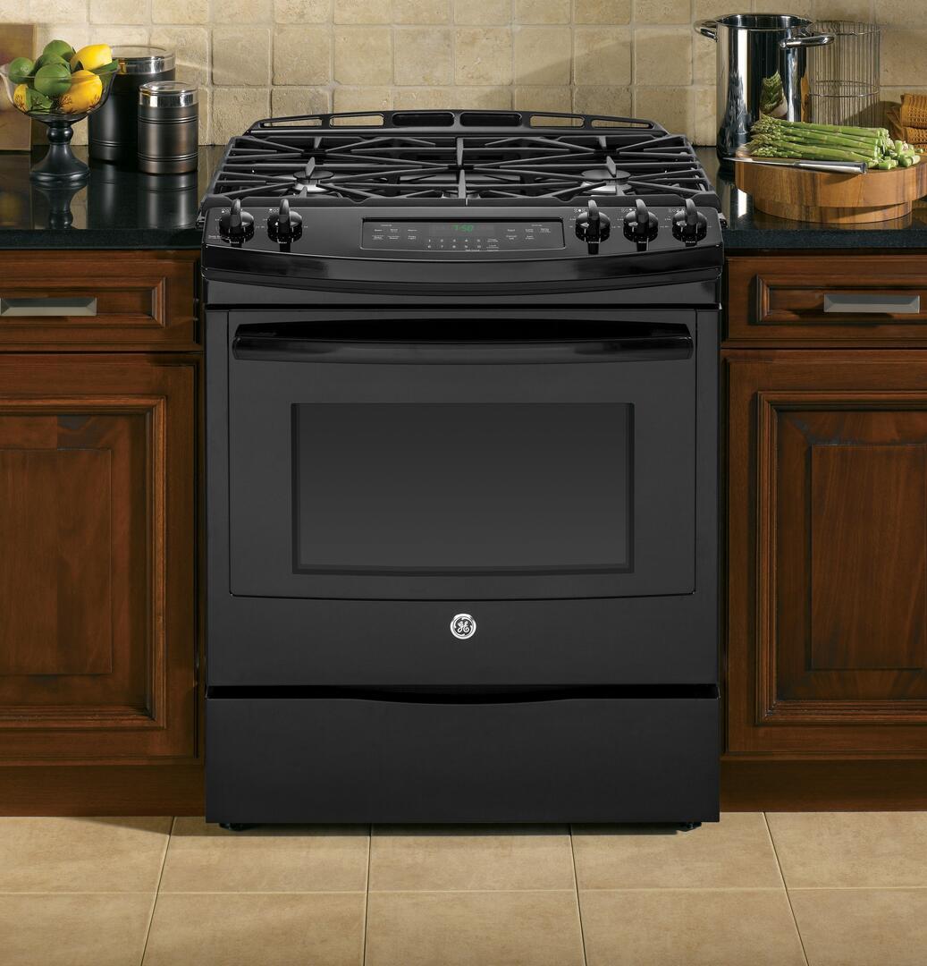 ge jgs750defbb 30 inch black slide in gas range with sealed burner cooktop 5 6 cu ft primary. Black Bedroom Furniture Sets. Home Design Ideas