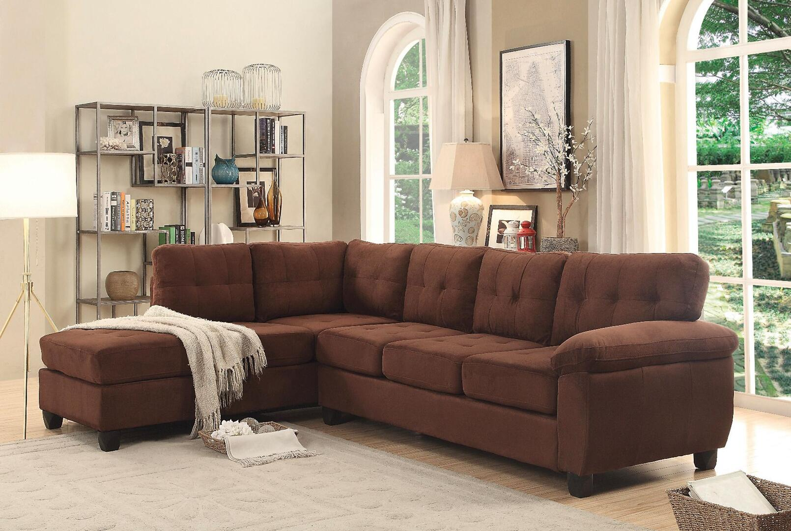 Glory Furniture G902b Sectional Sofa G902bsc Chocolate Suede