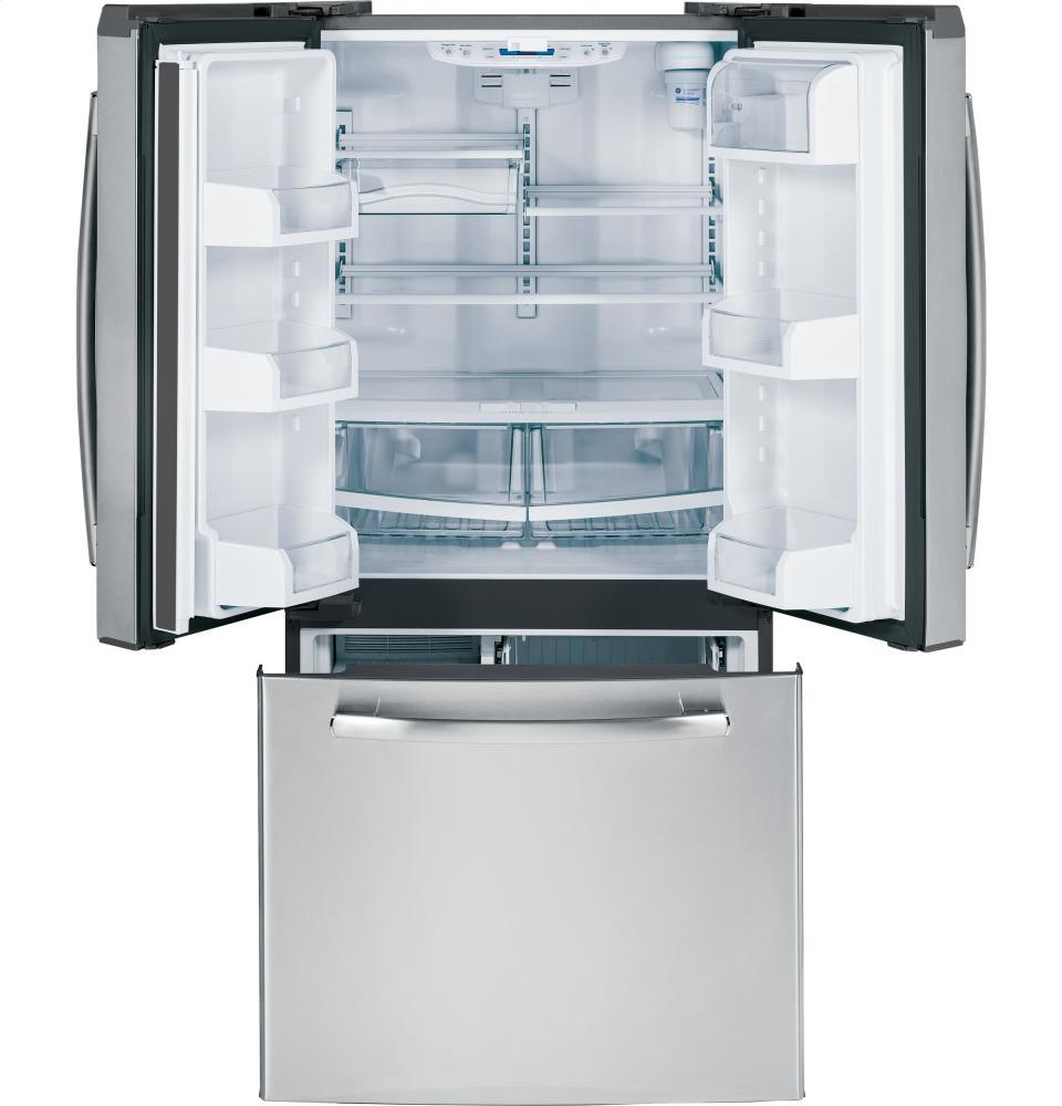 Ge Gne22gsess Bottom Freezer Refrigerator With 22 1 Cu Ft