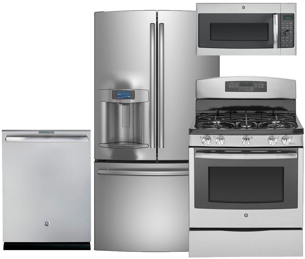 Complete Kitchen Cabinet Packages: GE Profile PFE28RSHSS4PCKIT3 Kitchen Appliance Packages
