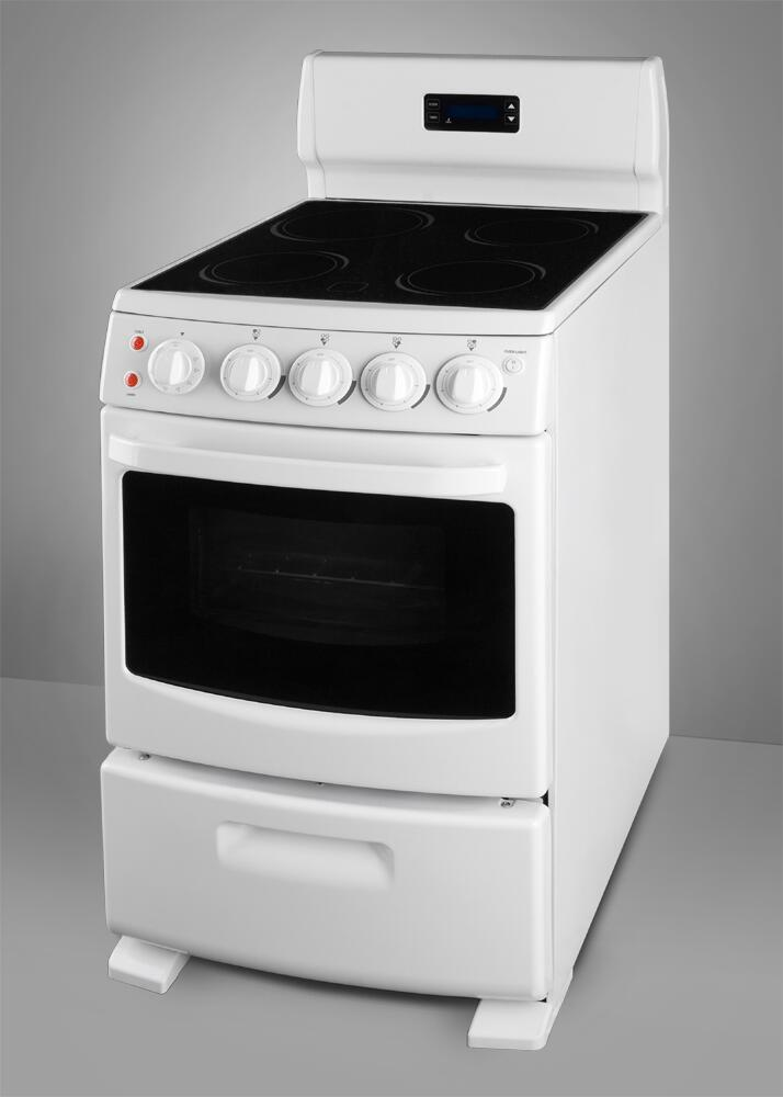 Summit Rex204w 20 Inch White Pearl Series Electric Freestanding Range With Smoothtop Cooktop 2