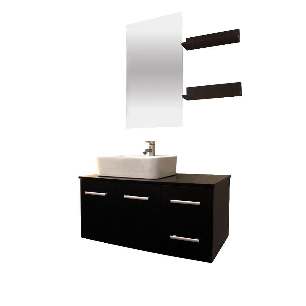 Floating 36-inch Espresso Cabinet Wall-mount Bathroom Vanity w ...