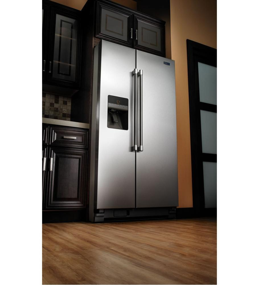maytag msf25d4mdm 36 inch side by side refrigerator with 24 6 cu  ft  capacity in stainless