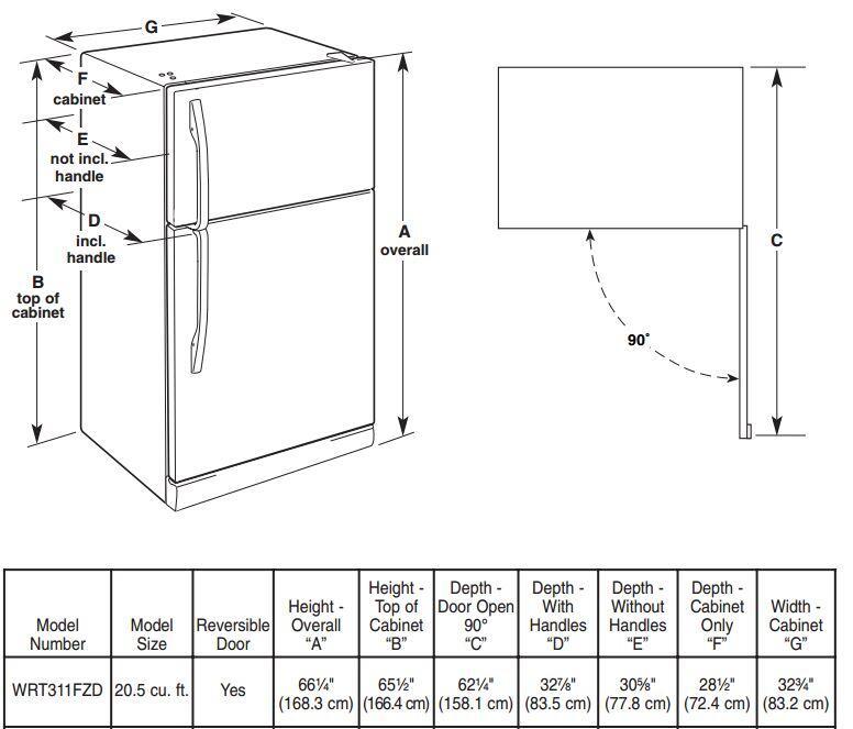 Whirlpool WRT311FZDW 33 Inch White Refrigerator with 20.5 cu. ft ...