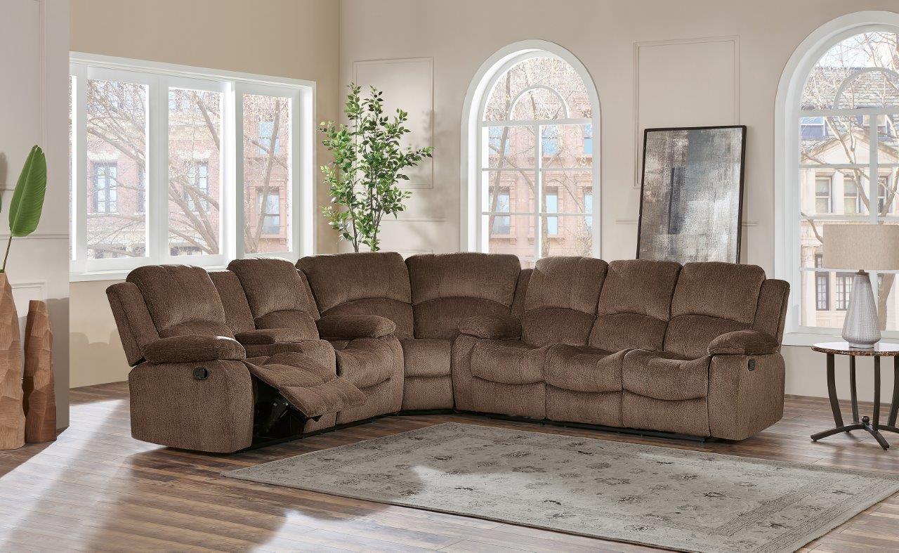 Global Furniture Usa U3118csubarucoffeew U3118 Series Fabric Sectional With Wood Frame In Subaru
