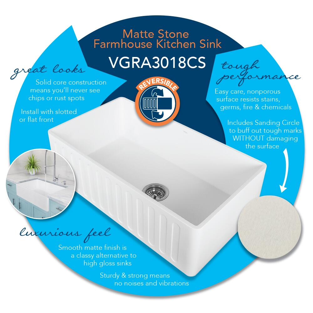 Vigo VGRA3318CS Matte White Kitchen Sink | Appliances Connection