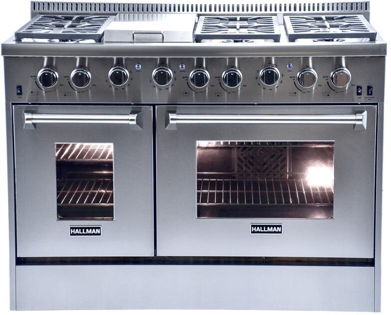 Hallman hgr4801lp 48 inch gas freestanding range with for Best slide in gas range under 2000