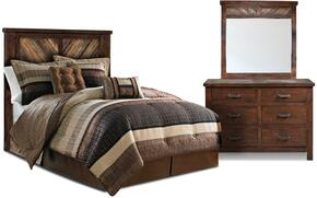 Riviera Collection HH-4280-3PC 3 Piece Bedroom Set with Bed + Dresser + Mirror in Walnut Finish