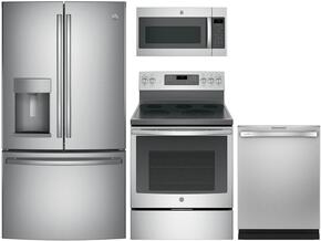 "4-Piece Kitchen Package with GFE28GSKSS 36"" French Door Refrigerator, JB750SJSS 30"" Freestanding Electric Range, JVM7195SKSS 30"" Over the Rage Micorwave Oven and GDT655SSJSS 24"" Built In Fully Integrated Dishwasher in Stainless Steel"