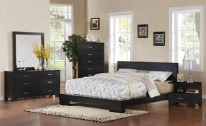 20060QDMCN London Queen Size Panel Bed + Dresser + Mirror + Chest + Nightstand in Black Finish