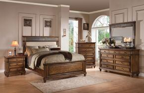 Arielle 24440Q5PC Bedroom Set with Queen Size Bed + Dresser + Mirror + Chest + Nightstand in Slate and Oak Finish
