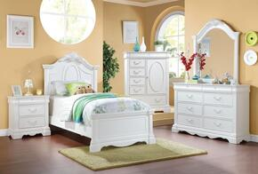 Estrella 30240T5PC Bedroom Set with Twin Size Bed +Dresser + Mirror + Chest + Nightstand in White Color