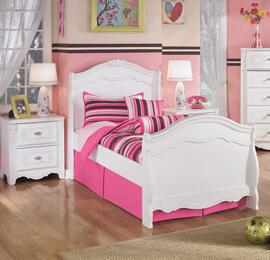 Exquisite Twin Bedroom Set with Sleigh Bed and Single Nightstand in White