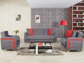 Decora DESBLSACTGY Package Containing Sofabed, Convertible Love Seat and Convertible Armchair with Matching Pillows, Tapered Polished Metal Feet and Button Detailing in Truva Gray