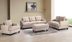 G511ASET 3 PC Living Room Set with Sofa + Loveseat + Armchair in Beige Color