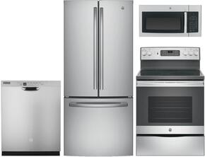 "4-Piece Kitchen Package With GNE21FSKSS 30"" French Door Refrigerator, JB655SKSS 30"" Freetanding Electric Range, JVM3160RFSS 30"" Over the Range Microwave Oven and GDF520PSJSS 24"" Built In Dishwasher in Stainless Steel"