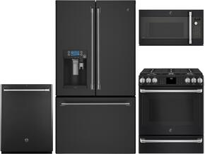 "4-Piece Black Slate Kitchen Package with CFE28UELDS 36"" French Door Refrigerator, C2S986EELDS 30"" Slide In Dual Fuel Range, CVM9179ELDS 30"" Countertop Microwave, and CDT835SMJDS 24"" Fully Integrated Dishwasher"