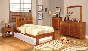 Carus Collection CM7904OAKFBDMCN 5-Piece Bedroom Sets with Full Bed, Dresser, Mirror, Nightstand and Chest in Oak