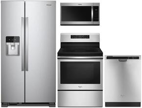 "4 Piece Kitchen package With WFE520S0FS 30"" Electric Range, WMH32519FS Over The Range Microwave, WRS325FDAM 36"" Side By Side Refrigerator and WDF520PADM 24"" Built In Dishwasher In Stainless Steel"