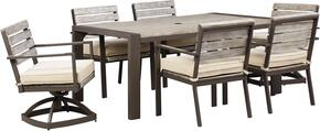 Peachstone Collection P655-625-4SC-2SSC 7-Piece Outdoor Patio Set with Dining Table, 4 Side Chairs and 2 Swivel Side Chairs in Beige and Brown