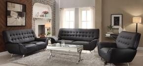 Omniel 52175SLC 3 PC Living Room Set with Sofa + Loveseat + Chair in Black Color