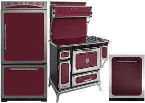 """3-Piece Cranberry Kitchen Package with HCBMR19LCRN 30"""" Bottom Freezer Refrigerator, 6210CD0CRN 48"""" Freestanding Electric Range, and HCTTDWCRN 24"""" Fully Integrated Dishwasher"""