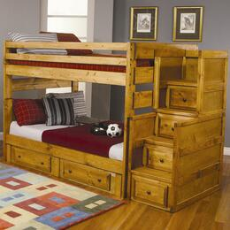4600969798 Set Including Wrangle Hill Full Over Full Bunk Bed + Under Dresser + Stairway Chest in Amber Wash Finish