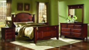 6740WBDMNN Drayton Hall 5 Piece Bedroom Set with California King Bed, Dresser, Mirror and Two Nightstands, in Bordeaux