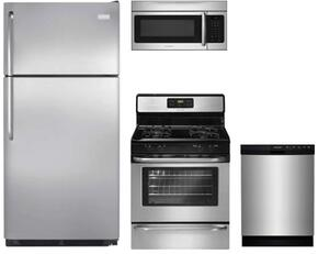 "4-Piece Stainless Steel Kitchen Package with FFTR1821QS 30"" Top Freezer Refrigerator, FFGF3053LS 30"" Gas Freestanding Range, FFBD2412SS 24"" Full Console Dishwasher and  FFMV164LS 30"" Over The Range Microwave"