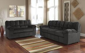 Leilani Collection MI-9800SL-EBON 2-Piece Living Room Set with Sofa and Loveseat in Ebony