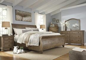 Trishley California King Bedroom Set with Sleigh Bed, Dresser, Mirror, Nightstand and Chest in Light Brown
