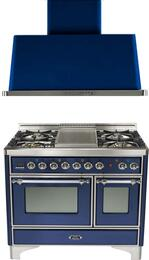 "2-Piece Midnight Blue Kitchen Package with UMD100FDMPBLX 40"" Freestanding Dual Fuel Range (Chrome Trim, 4 Burners, Griddle) and UAM100BL 40"" Wall Mount Range Hood"