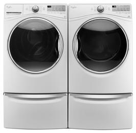 "White Front Load Laundry Pair with WFW90HEFW 27"" Washer, WED90HEFW 27"" Electric Dryer and 2 XHPC155XW Pedestals"