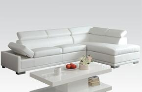 Cleon 51165ST 2 PC Living Room Set with Sectional Sofa + Coffee Table in White Color