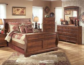 Atkins Collection Queen Bedroom Set with Sleigh Bed, Dresser and Mirror in Warm Brown