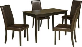 Mia Collection 5-Piece Dining Room Set with Rectangular Dining Table and 4 Side Chairs in Dark Brown