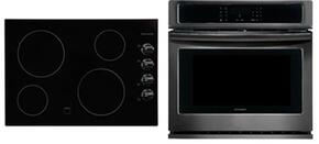 "2-Piece Kitchen Package with FFEC3024LB 30"" Electric Smoothtop Style Cooktop in Black, and FFEW3026TD 30"" Electric Single Wall Oven in Black Stainless Steel"