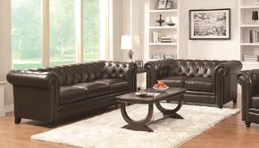 Roy 504551Sl 2 PC Living Room Set with Sofa + Loveseat in Brown Color
