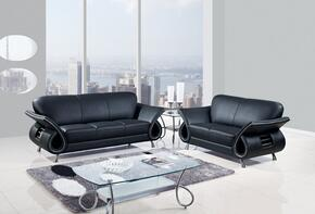 U559-BL-SLC 3 Piece Leather Livingroom Set in Black, Sofa + Loveseat + Chair
