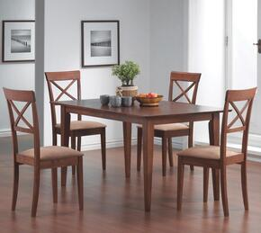 101771SET74 Mix & Match 5 Pc Dining Set, Table + 4 Chairs, in Walnut Finish