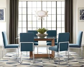 Jackson Collection 107141BL 7 PC Dining Room Set with Dining Table + 6 Blue Upholstered Side Chairs in Walnut Finish