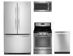 """4 Piece Kitchen package With WFG540H0ES 30"""" Gas Range, WMH31017FS Over The Range Microwave Oven, WRF535SMBM 36"""" French Door Refrigerator and WDT720PADM 24"""" Built In Dishwasher In Stainless Steel"""