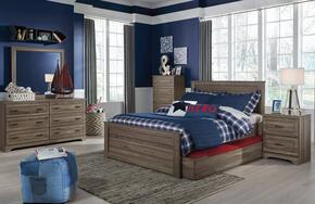 Javarin Full Bedroom Set with Storage Bed, Dresser, Mirror, 2x Nightstands and Chest in Greyish Brown