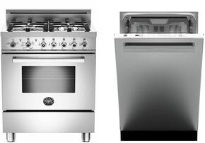 "2-Piece Stainless Steel Kitchen Package with PRO244GASX 24"" Freestandng Gas Range and DW24XT 24"" Fully Integrated Dishwasher with Heritage Handle"