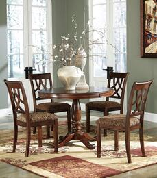 Asha Collection 5-Piece Dining Room Set with Round Dining Table and 4 Side Chairs in Medium Brown