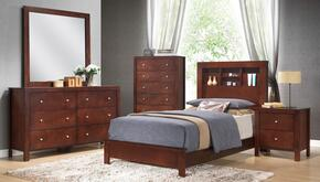 G2400BTB2SET 5 PC Bedroom Set with Twin Size Panel Bed + Dresser + Mirror + Chest + Nightstand in Cherry Finish